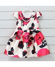 Flaunt Chic Floral Dress With Detachable Pearl Necklace - Pink