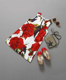 Flaunt Chic Rose Print Dress - Red