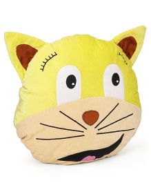 Play Toons Cat Face Cushion - Yellow