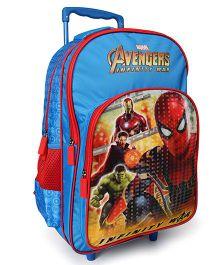 Marvel Avengers & Spiderman Trolley School Bag Blue Red - 18 Inches
