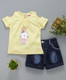 Babyhug Cold Shoulder Kitty Print Top With Denim Short - Light Yellow