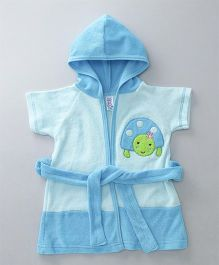 Pink Rabbit Terry Cotton Bath Robe With Hood Turtle Design - Blue