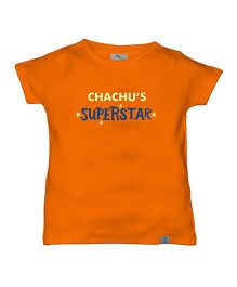 Zeezeezoo Chachu's Superstar Print Organic Tee - Orange
