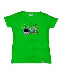 Zeezeezoo Birthday Tee - I Am One Print Organic Tee - Green