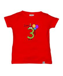 Zeezeezoo Birthday Tee - I Am Three Print Organic Tee - Red