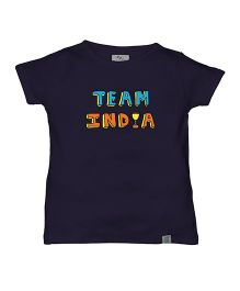Zeezeezoo Team India Print Organic Tee - Navy Blue