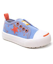 Cute Walk by Babyhug Casual Canvas Shoes Star Patch - Blue