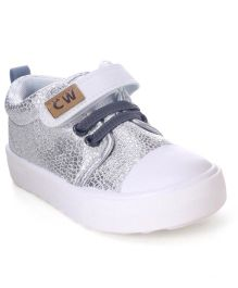 Cute Walk by Babyhug Canvas Shoes Shimmer Detail - Silver
