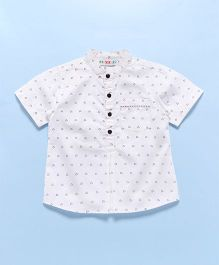 Popsicles Clothing By Neelu Trivedi Band Collar Printed Shirt - White