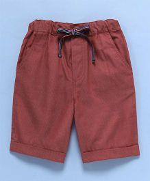 Popsicles Clothing By Neelu Trivedi Plain Adjustable Waist Shorts - Red