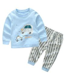 Funtoosh Kidswear Car Print Tee With Pant - Blue