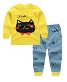 Funtoosh Kidswear Cat & Fish Print Tee With Pant - Yellow