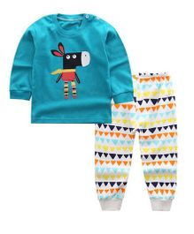 Funtoosh Kidswear Cartoon Print Tee With Pant - Blue