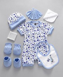 Mee Mee Clothing Gift Set Of 8 Marine Print - Blue White