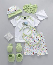 Mee Mee Clothing Gift Set of 9 Animal Print & Patch - Green White