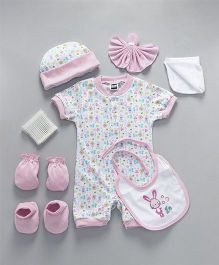 Mee Mee Clothing Gift Set of 8 Floral & Bunny Print - Light Pink White