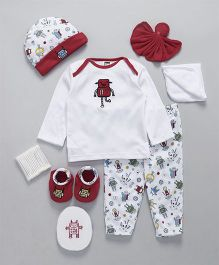 Mee Mee Clothing Gift Set of 8 Robot Print - Maroon White