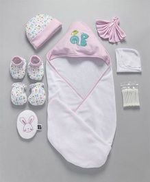 Mee Mee Combo Gift Set of 8 Animal Print & Patch - Pink White
