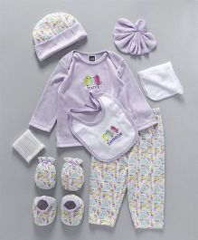 Mee Mee Clothing Gift Set Animal & Bird Design Pack Of 9 - Purple White