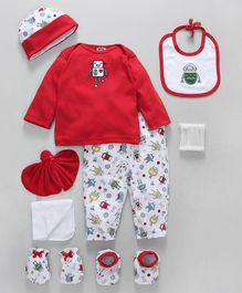 Mee Mee Clothing Gift Set of 9 Robot Print - Red White