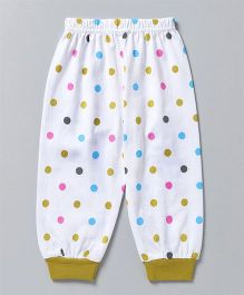 Mini Taurus Full Length Polka Dot Lounge Pants  - White Green