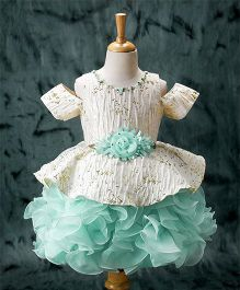 Enfance Frilly Party Wear Dress - Sea Green