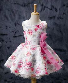 Enfance Floral Print Sleeveless Dress - Pink
