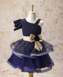 Enfance Frilly Party Wear Dress With Rose Bow - Navy