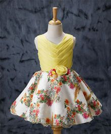 Enfance Sleeveless Digital Floral Print Dress - Yellow
