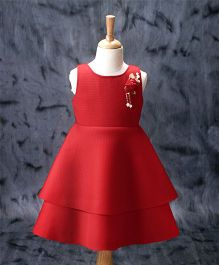 Enfance Flower Applique Sleeveless Dress - Red