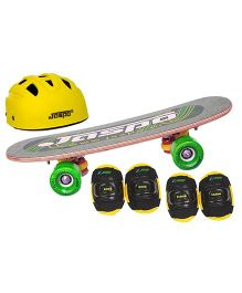 Jaspo Skate Board & Protective Gear Set of 4 - Yellow Green