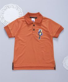 Lilpicks Couture Sequin Ballon Patch Polo Tshirt - Orange