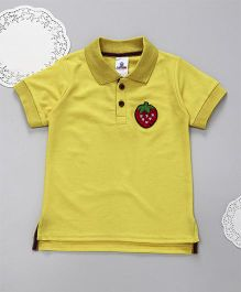Lilpicks Couture Sequin Strawberry Patch Polo Tshirt - Yellow