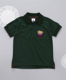 Lilpicks Couture Sequin Fries Patch Polo Tshirt - Dark Green
