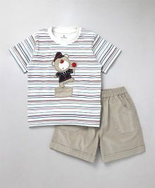 Child World Half Sleeves T-Shirt With Shorts Stripes Print - Beige