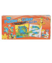 Yash Toys 2 In 1 Puzzle And Colour Game Birds Theme - Multicolour