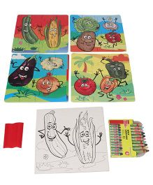 Yash Toys Educational 2 In 1 Puzzles N Colour Vegetables - Multi Colour