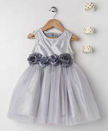 Pixie Dust Floral Corsarge Dress - Grey