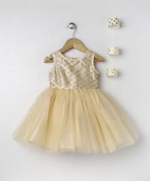 Pixie Dust Lace Netted Dress - Light Gold