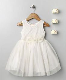 Pixie Dust Corsarge Lace Yoke Dress - White