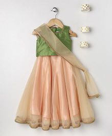 Pixie Dust Netted Lehenga With Choli - Green & Peach