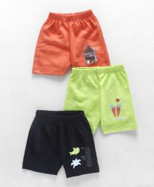 Ohms Printed Shorts Pack of 3 - Orange Green Navy