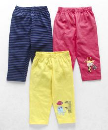 Ohms Full Length Lounge Pant Pack of 3 - Pink Blue Yellow
