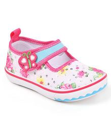 Cute Walk by Babyhug Sequined Casual Shoes Floral Design - Pink