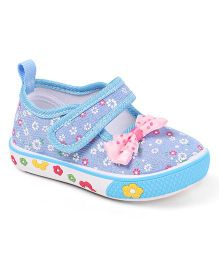 Cute Walk by Babyhug Floral Print Casual Shoes Velcro Closure - Sky Blue