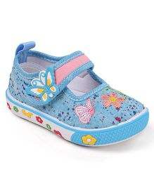 Cute Walk by Babyhug Velcro Canvas Casual Shoes Butterfly Patch - Blue