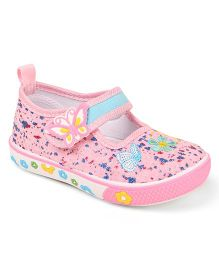 Cute Walk by Babyhug Velcro Canvas Casual Shoes Butterfly Patch - Light Pink