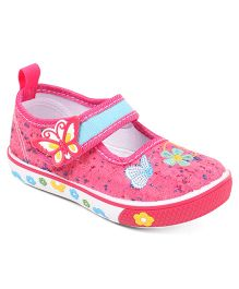 Cute Walk by Babyhug Velcro Canvas Casual Shoes Butterfly Patch - Pink