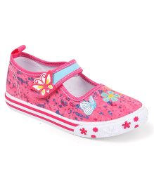 Cute Walk by Babyhug Velcro Canvas Casual Shoes Butterfly & Floral Embroidery - Pink