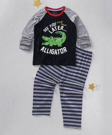 Lazy Shark Alligator Printed Night Wear Top & Bottom Set - Black & Grey